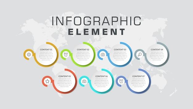 Zevenpunts infographic element bedrijfsstrategie Premium Vector