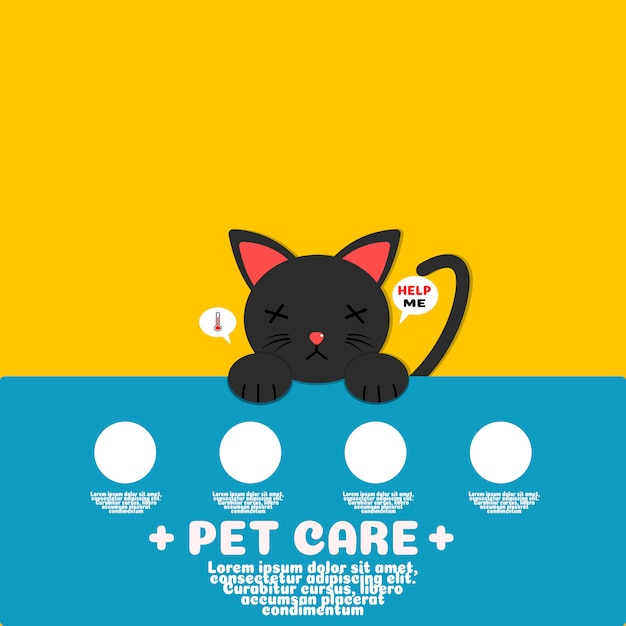 Ziek zwart kat cartoon vector.pet zorg concept. Premium Vector