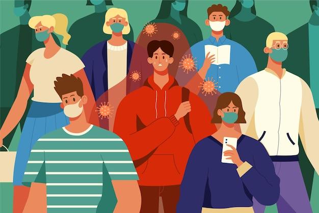 Zieke in een menigte van gezonde mensen Gratis Vector