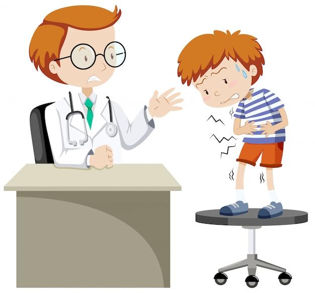 Zieke jongen bezoekende arts Gratis Vector