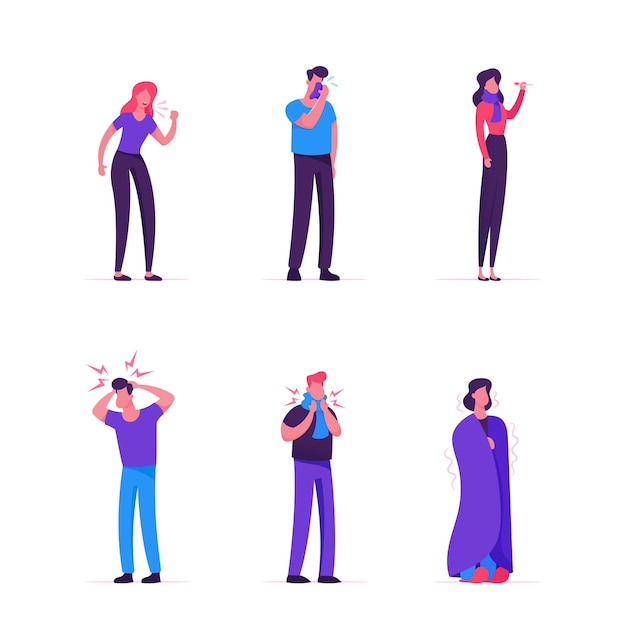 Zieke mannen en vrouwen ingesteld. mensen met rookkanaalsymptomen. cartoon vlakke afbeelding Premium Vector
