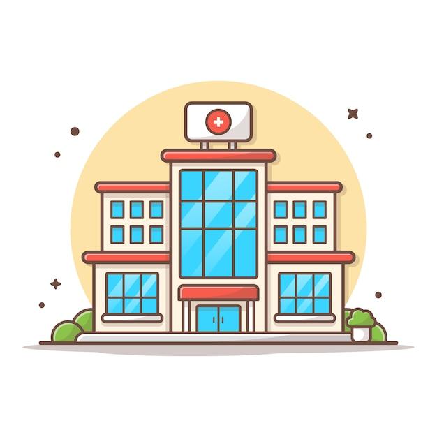 Ziekenhuis bouwen pictogram vectorillustratie. gebouw en landmark pictogram concept geïsoleerd wit Premium Vector