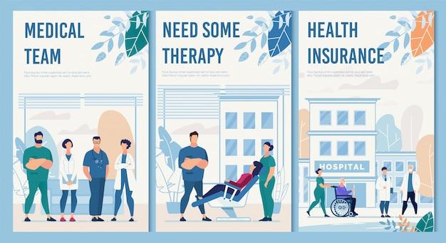 Ziekenhuis faciliteiten en diensten flat flyers set Premium Vector