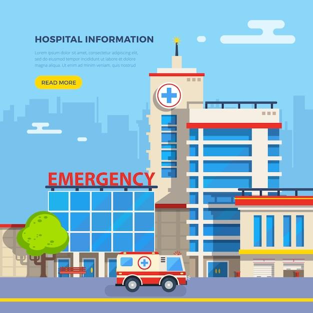 Ziekenhuis flat illustratie Gratis Vector