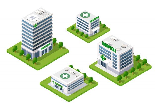 Ziekenhuis isometrische 3d-gebouw Premium Vector