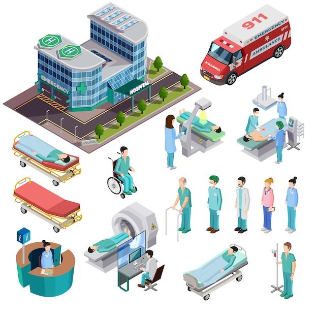 Ziekenhuis isometrische geïsoleerde iconen Gratis Vector