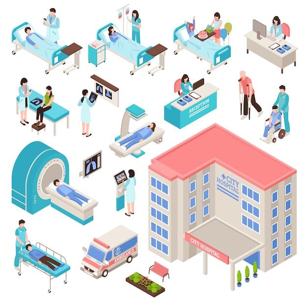 Ziekenhuis isometrische set Gratis Vector