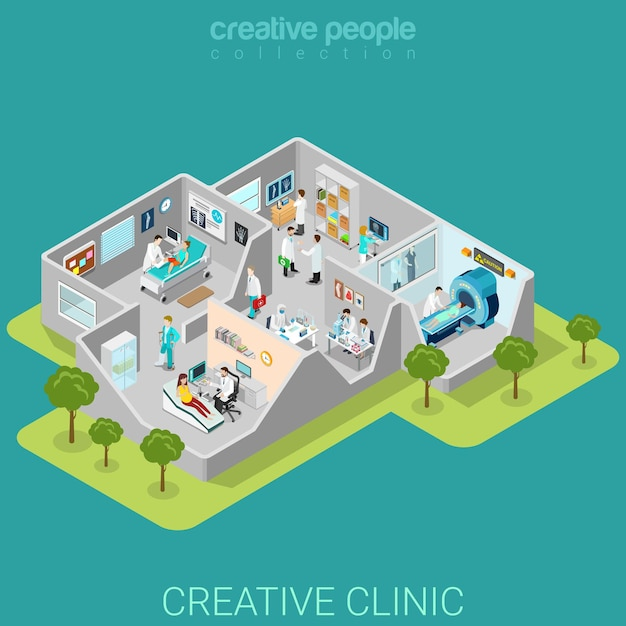 Ziekenhuis kliniek interieur kamers plat isometrisch Premium Vector