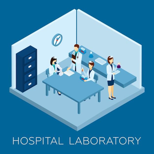 Ziekenhuis laboratorium concept Gratis Vector