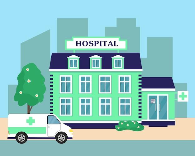 Ziekenhuis of medisch centrum dat exterieur en ambulanceauto bouwt. stad achtergrond illustratie. Premium Vector