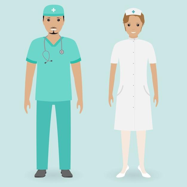 Ziekenhuis personeel concept. mannelijke en vrouwelijke verpleegkundigen staan samen. medische mensen. Premium Vector