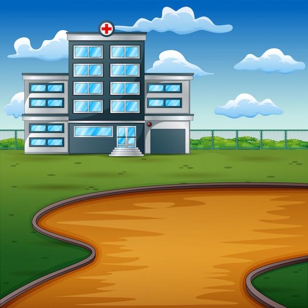 Ziekenhuis voortbouwend op groen landschap Premium Vector