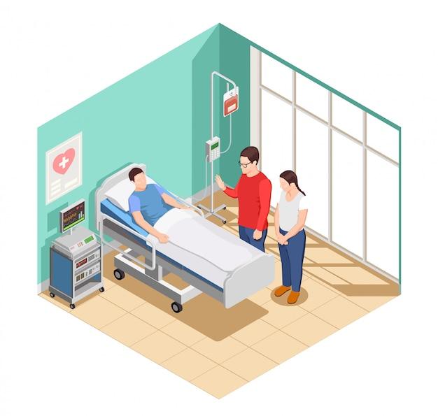 Ziekenhuisbezoek vrienden isometrische samenstelling Gratis Vector
