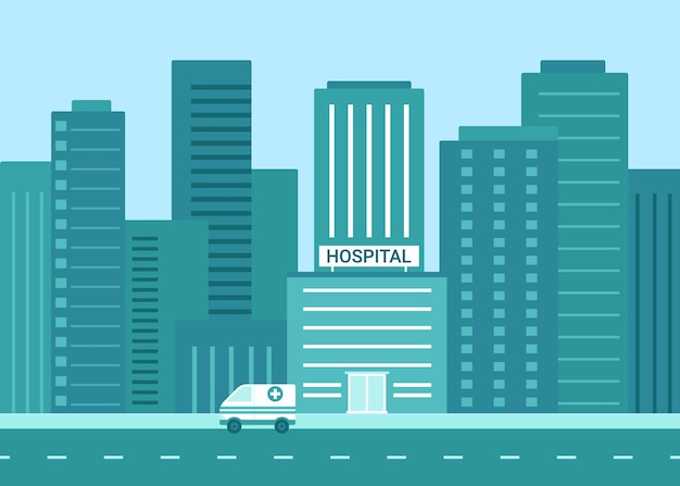 Ziekenhuisgebouw buitenkant in stad vlakke afbeelding Premium Vector
