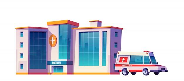 Ziekenhuisgebouw en ambulance auto Gratis Vector