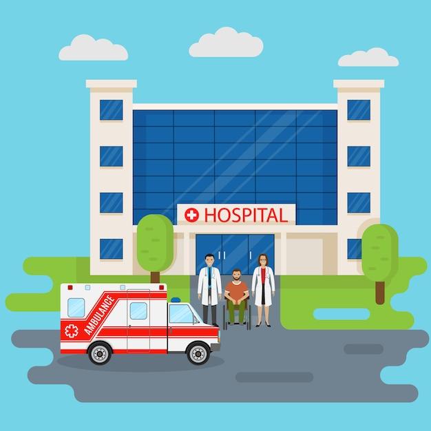 Ziekenhuisgebouw in vlakke stijl met twee artsen en een handicappatiënt bij ingang. medisch concept. Premium Vector