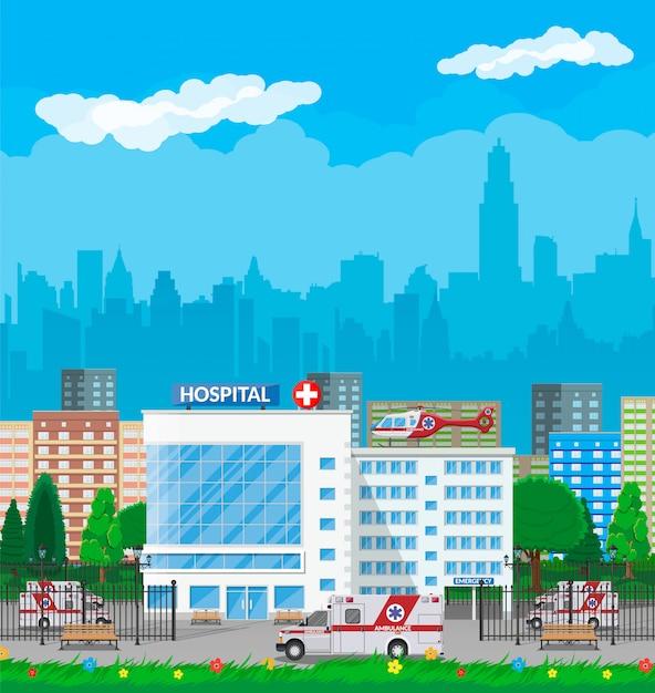 Ziekenhuisgebouw, medische pictogram. Premium Vector