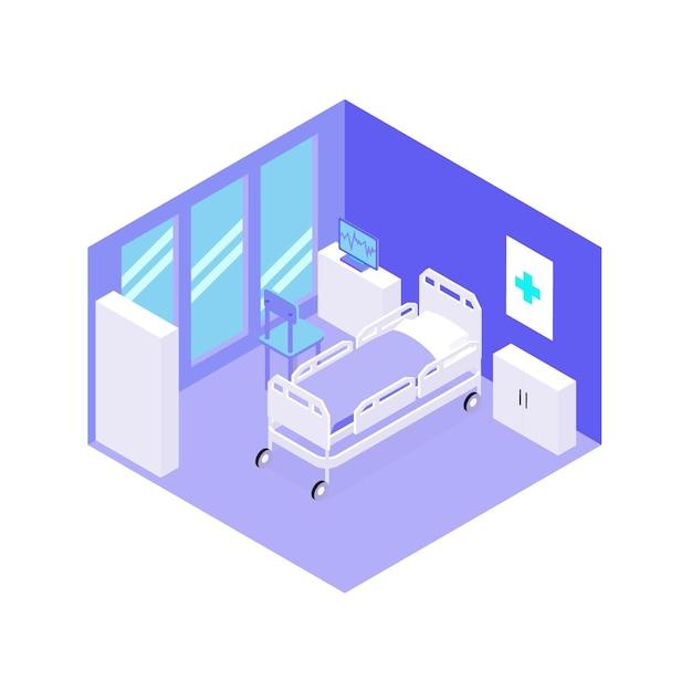 Ziekenhuiskamer met apparatuur isometrisch aanzicht Gratis Vector