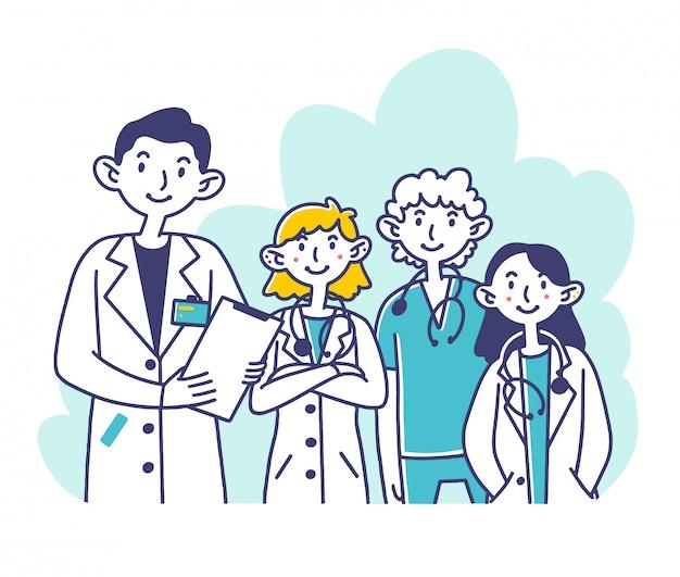 Ziekenhuispersoneel Premium Vector