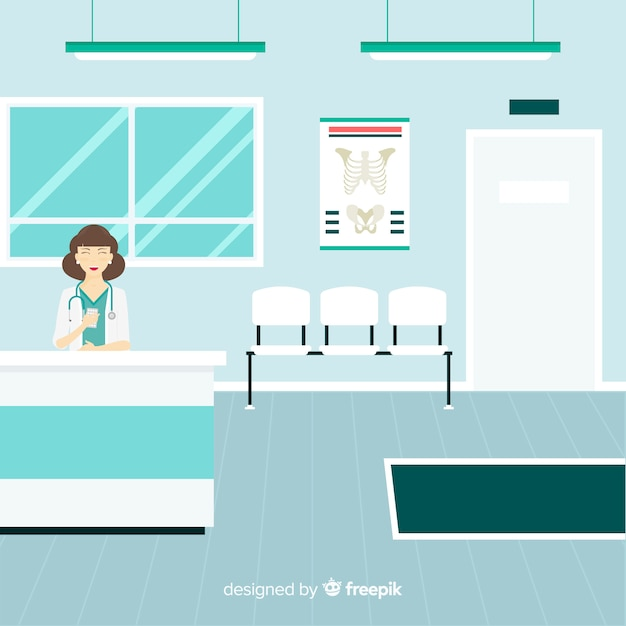Ziekenhuisreceptie met plat ontwerp Gratis Vector