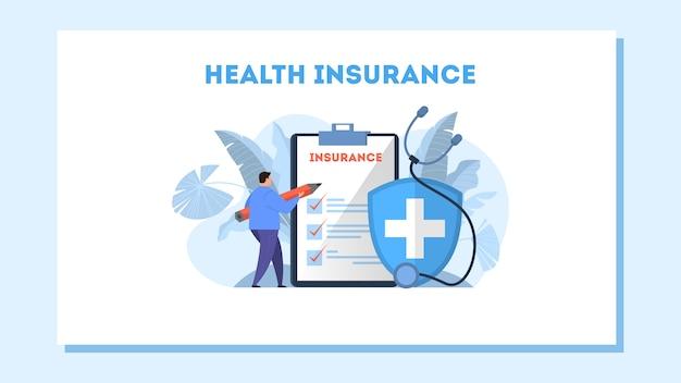 Ziektekostenverzekering concept webbanner. man met potlood staande op het grote klembord met document erop. gezondheidszorg en medische dienst. illustratie Premium Vector