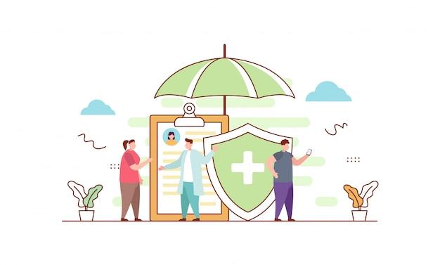 Ziektekostenverzekering in vlakke stijl Premium Vector