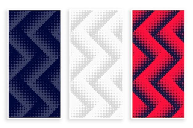 Zigzag halftone banners in witte, rode en zwarte kleur Gratis Vector