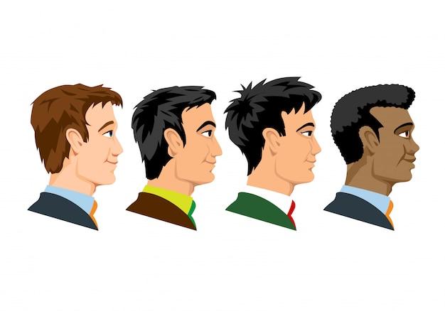 Zijaanzicht van vier soorten rassenmensen. Premium Vector