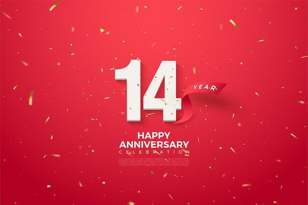 Zijn 14e verjaardag met een nummer en een gebogen rood lint erachter. Premium Vector