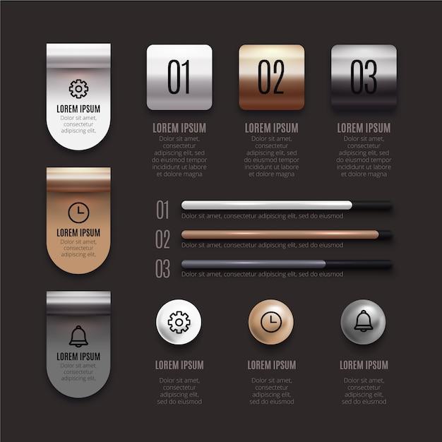 Zilver en brons tinten van 3d-glanzende infographic Gratis Vector