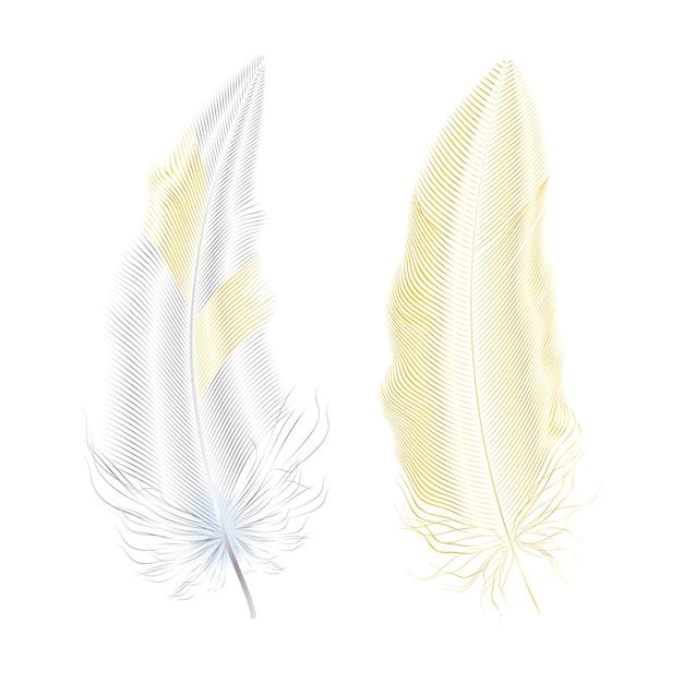 Zilver en goud glitter veren. boho stijlelementen, tattoo sjabloon. Premium Vector