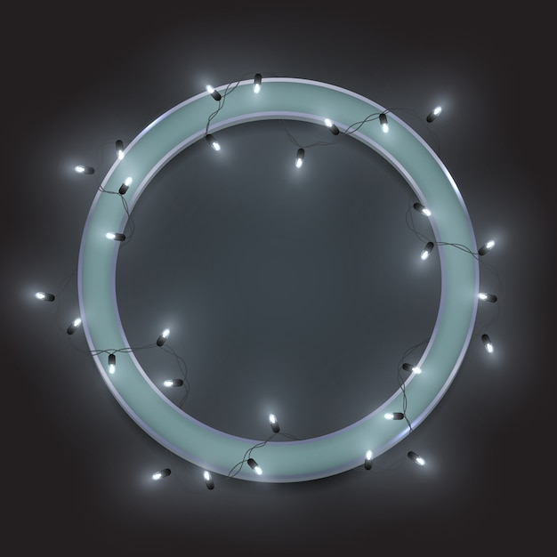 Zilver retro neon-cirkelframe, glanzende ledenslinger Premium Vector