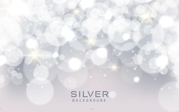 Zilveren abstracte fonkelende lichtenachtergrond Premium Vector