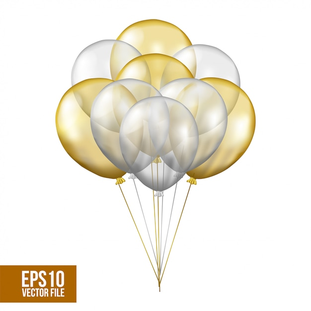 Zilveren en gouden vliegende transparante heliumballon Premium Vector
