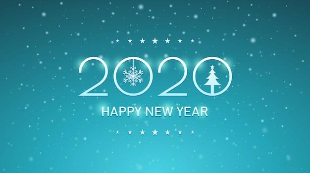 Zilveren gelukkig nieuw jaar 2020 met sneeuwvlokken op uitstekende blauwe kleurenachtergrond Premium Vector