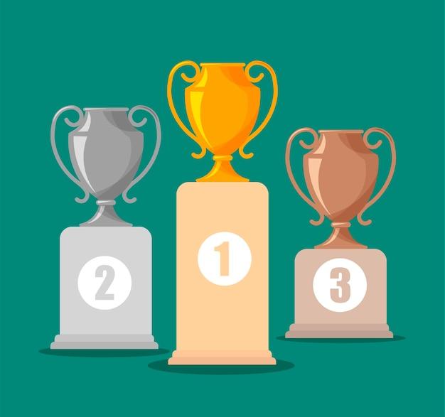 Zilveren, gouden en bronzen trofeekoppen. award of winnaar beker op kampioen podium. Premium Vector
