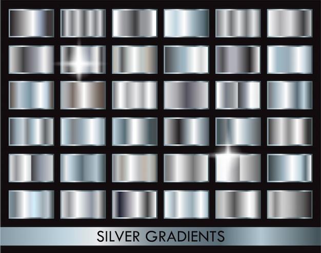 Zilveren gradiëntencollectie Premium Vector