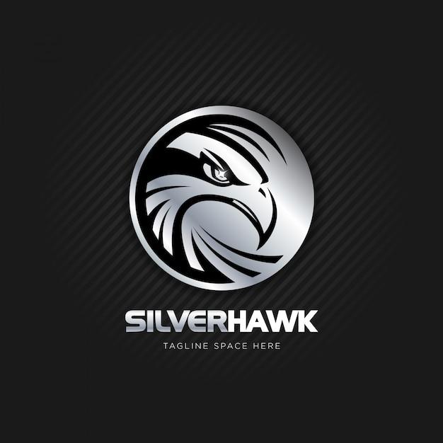 Zilveren havik logo ontwerp Premium Vector