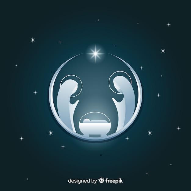 Zilveren kerststal silhouet achtergrond Gratis Vector