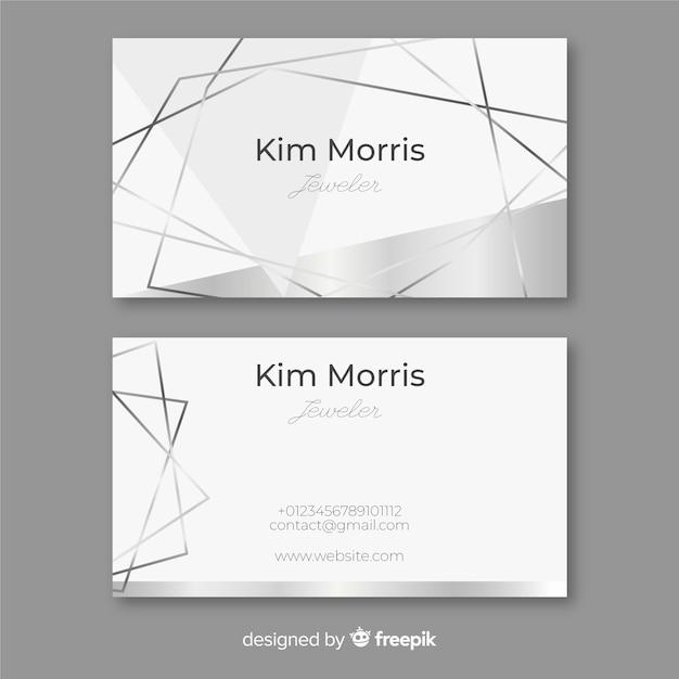 Zilveren lijnen visitekaartje Gratis Vector
