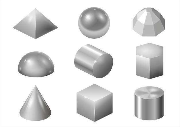 Zilveren metaalvormen Premium Vector
