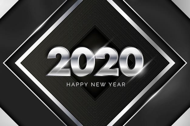 Zilveren nieuwe jaar 2020 achtergrond Gratis Vector