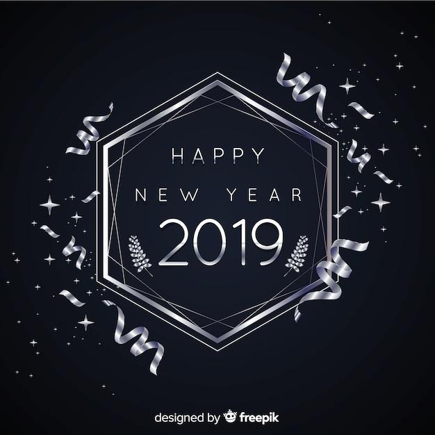 Zilveren nieuwjaar 2019 achtergrond Gratis Vector