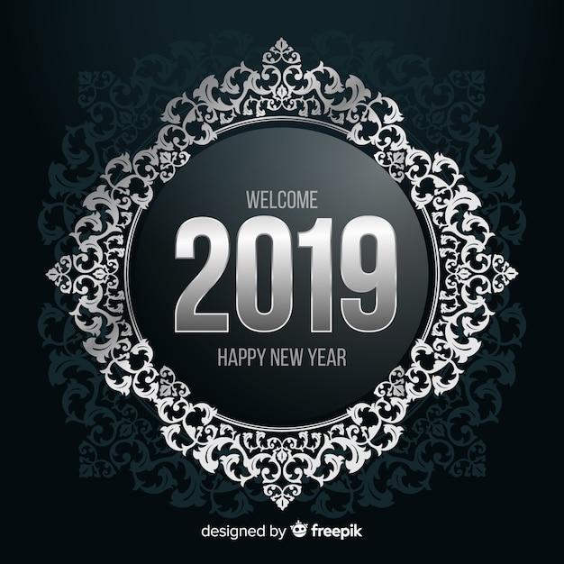 Zilveren nummer nieuwe jaar achtergrond Gratis Vector