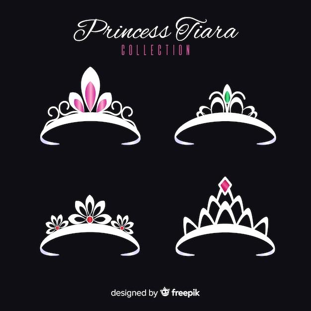 Zilveren prinses tiara-collectie Gratis Vector