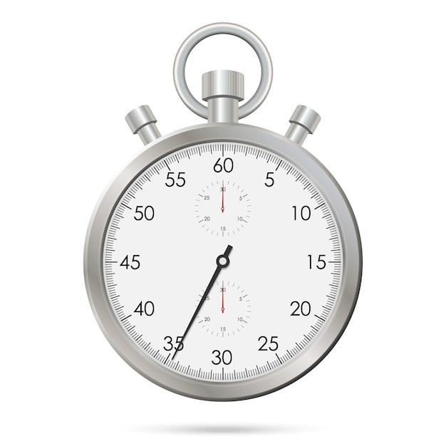 Zilveren realistische stopwatch Premium Vector