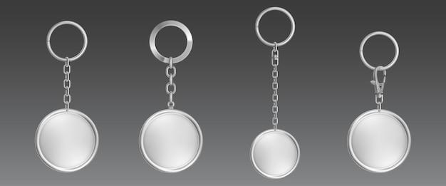 Zilveren sleutelhanger, trinket voor sleutel met metalen ketting en ring Gratis Vector