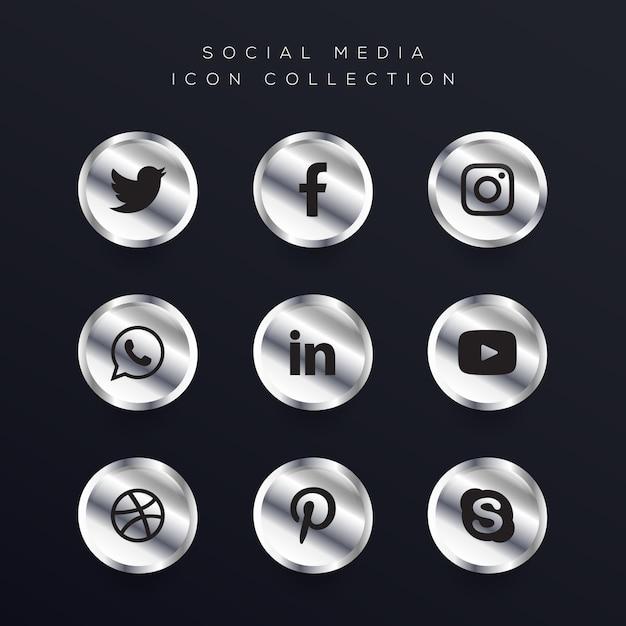 Zilveren sociale media iconen set Premium Vector