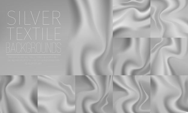 Zilveren textiel draperie horizontale achtergronden instellen Gratis Vector