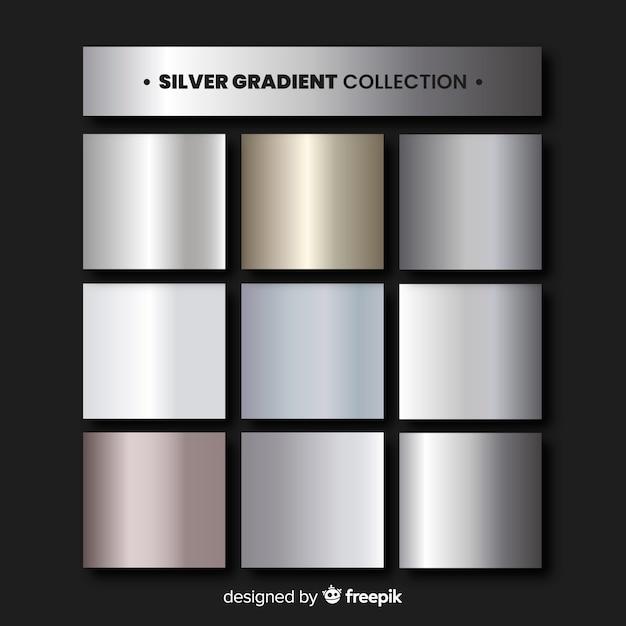 Zilveren verloopcollectie Gratis Vector